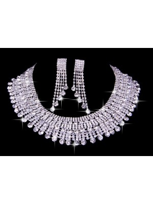 Elegant Czech Estráss Wedding Necklaces Earrings Set