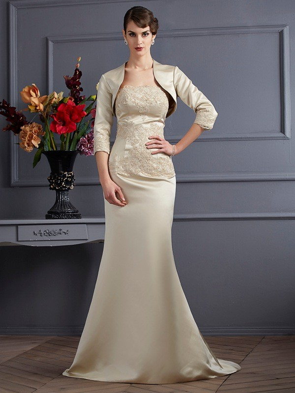 Satin 3/4 Sleeves Applique Special Occasion Fashion Wrap