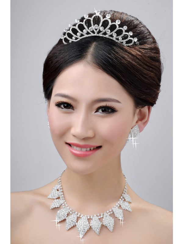 Alloy Clear Cristaless Wedding Party Earrings Set
