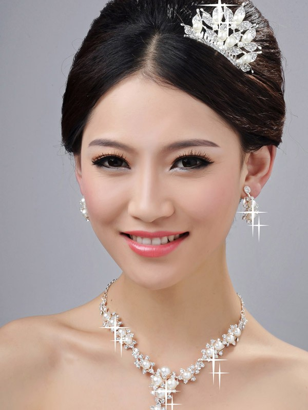 Bright Alloy Clear Cristaless Wedding Party Earrings Set