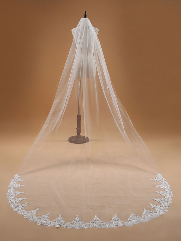 Elegant Tul With Encaje Wedding Veils