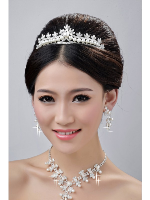 Fashionable Alloy Clear Cristaless Wedding Party Earrings Set
