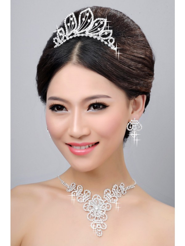 Hot Sale Beautiful Alloy Clear Cristaless Wedding Party Earrings Set