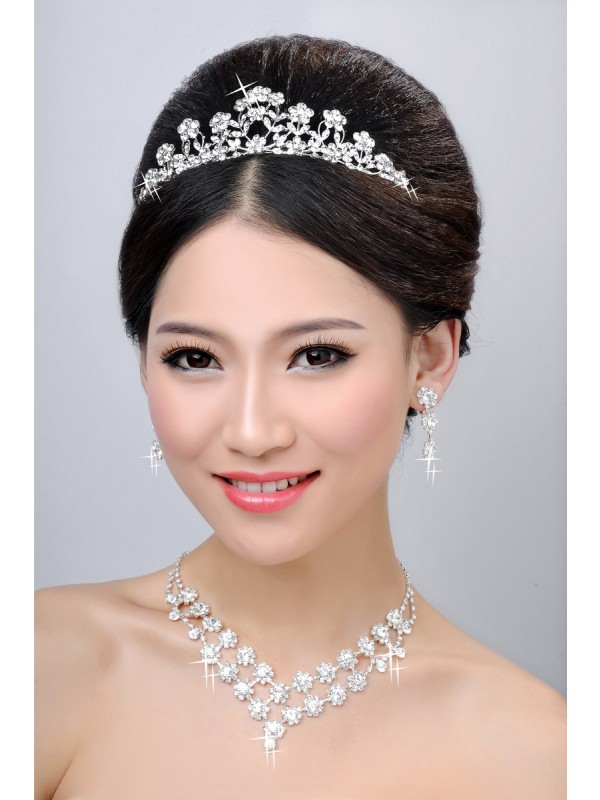 New Style Alloy Clear Cristaless Flower Wedding Party Earrings Set