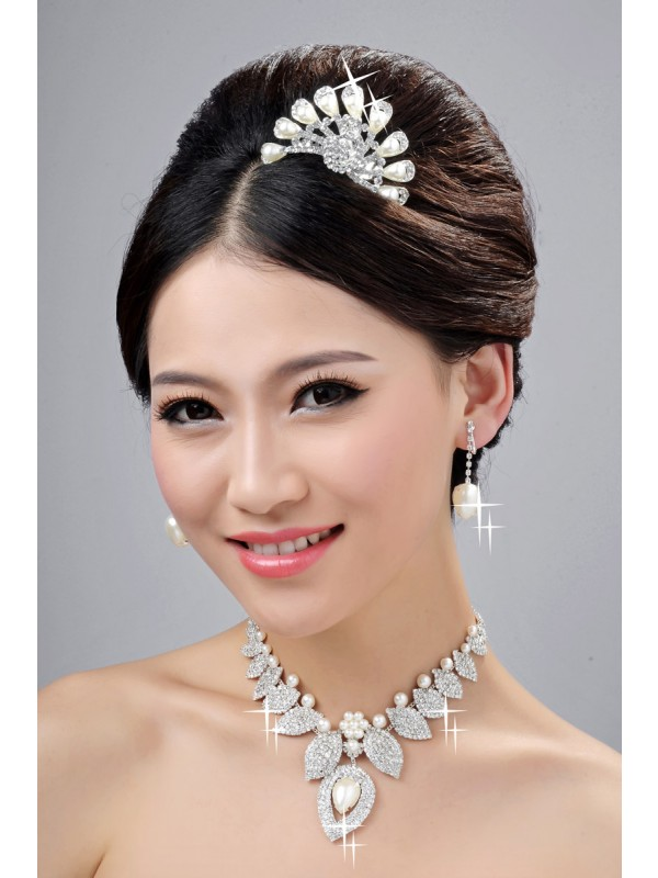 New Style Alloy Clear Cristaless Pearl Wedding Party Earrings Set