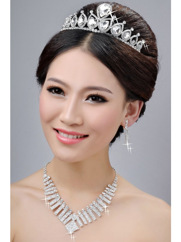 New Style Alloy Clear Cristaless Wedding Party Earrings Set