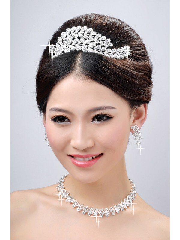 New Style Beautiful Alloy Clear Cristaless Wedding Party Earrings Set