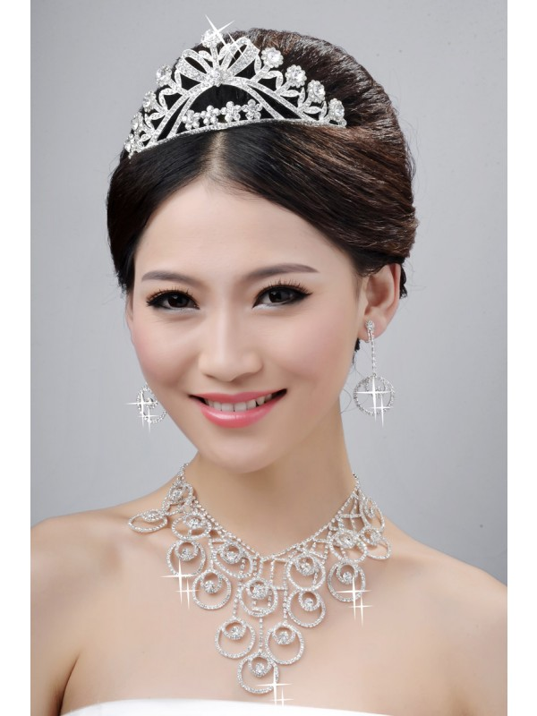 New Style Beautiful Alloy Cristaless Wedding Party Earrings Set