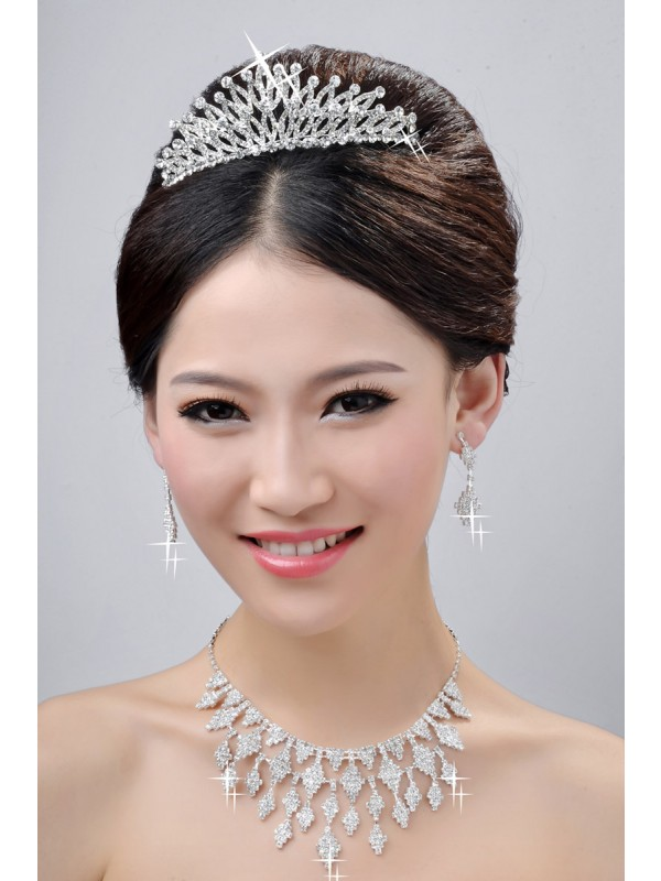 New Style Fashion Alloy Clear Cristaless Wedding Party Earrings Set