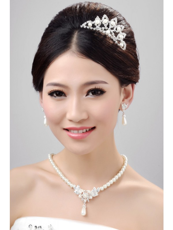Nice Alloy Clear Cristaless Pearl Wedding Party Earrings Set