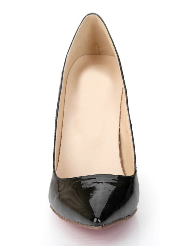 Negro Patent Leather Closed Toe Stiletto Heel Office High Heels