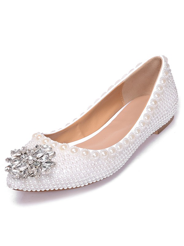 Patent Leather Closed Toe Flat Heel With Pearl Estrás Casual Flat Shoes