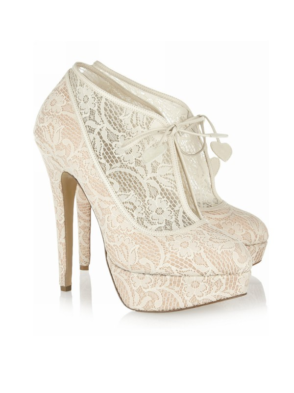 Encaje Stiletto Heel Closed Toe Platform Wedding Champán Boots