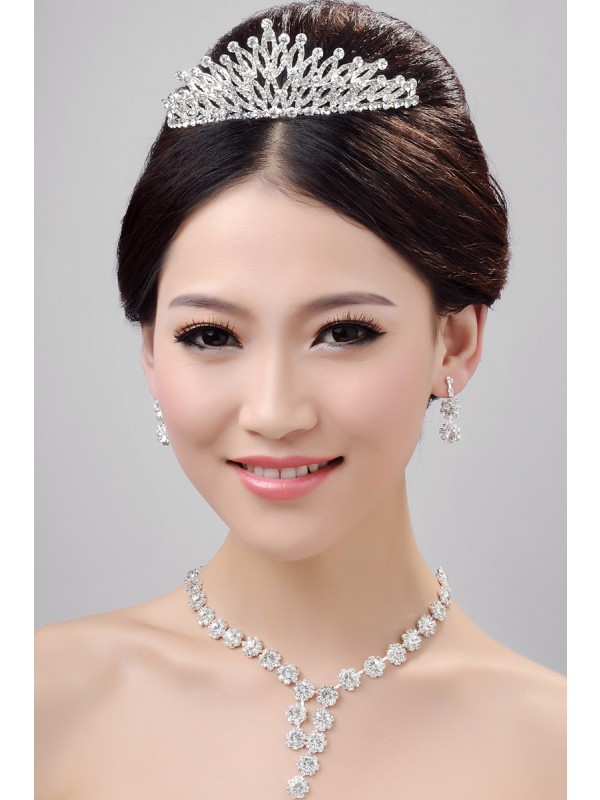 Stunning Alloy Clear Cristaless Wedding Party Earrings Set