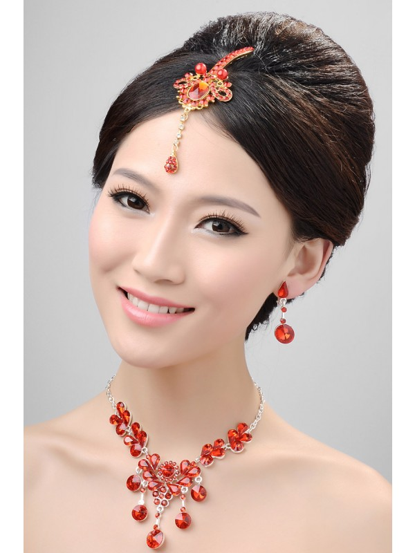 Stunning Alloy Cristaless Wedding Party Earrings Set