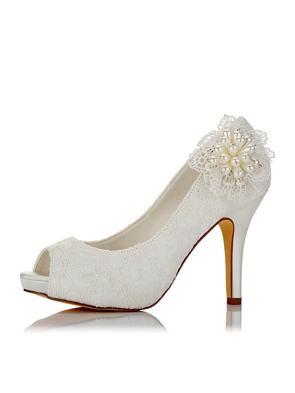 PU Peep Toe Stiletto Heel Wedding Shoes
