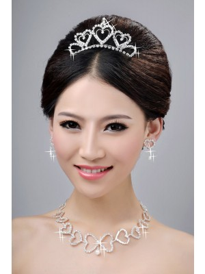 Awesome Alloy Clear Cristaless Hearts Wedding Party Earrings Set