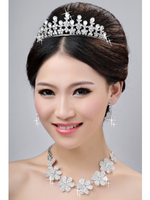 New Style Nice Alloy Clear Cristaless Flower Wedding Party Earrings Set