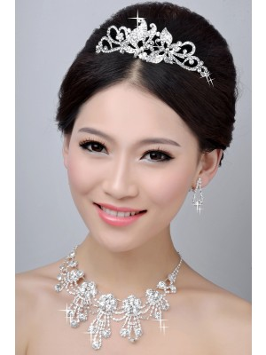 New Style Nice Alloy Clear Cristaless Wedding Party Earrings Set