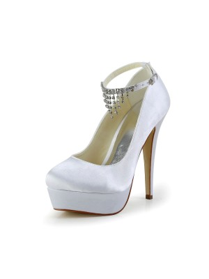 Nice Satén Stiletto Heel Closed Toe With Estrás Blanco Wedding Shoes