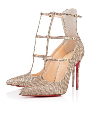 Sparkling Glitter Closed Toe con Buckle Stiletto Heel High Heels