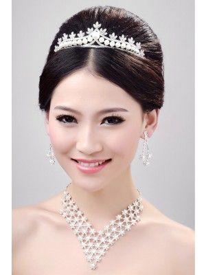 Fashion Alloy Clear Cristaless Wedding Party Earrings Set